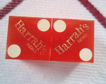 Lot of 2 Drilled Harrah's Casino Reno Dice Used in Actual Play Collectible B89