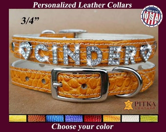 Personalized Rhinestone Dog Collars - Padded Leather Collars for Medium Dogs - Custom Made Dog Collars with Bling Letters - Made in USA