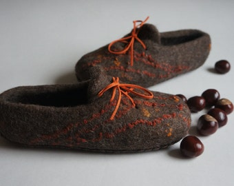 In stock, EU 38 size! Eco felted slippers for women. Clogs. 100% Natural. Home shoes. Gift for her.