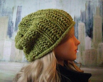 Women's Knitted Hat 'Fontana', olive green, slouch styled winter ski hat, hand knit hat, wool yarn and silk yarn.