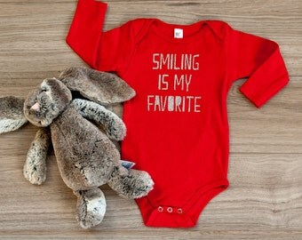 SALE Smiling is My Favorite Baby Bodysuit, Baby Long Sleeve, Elf Quotes, Elf Baby, Smile, Smiling Favorite, Elf Tee, Baby First Christmas