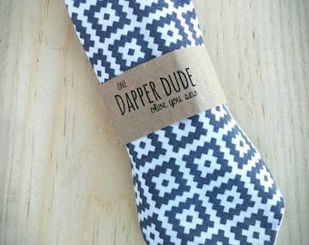 baby neckties, toddler neckties, boy neckties, adjustable ties -Grey Aztec Necktie  (ages 6 months - 7 years)