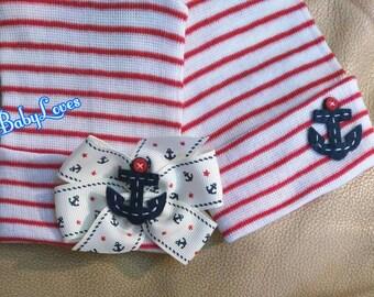 Twins! 2 Ply Newborn Hospital Hats.1st Keepsakes! 2 Newborn Hospital Beanies.  Anchor Nautical Boy and Girl. Gender Choice! CUTE!