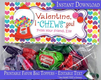 Valentine Treat Bag Topper, Treat Bag Topper, Favor Bag Topper, Candy Bag Topper, Bubble Gum Topper, Valentine Treat Bag, Valentine Exchange