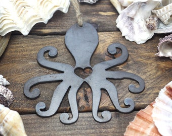 Octopus Love Rustic Metal Recycled Steel Heart Christmas Tree Ornament Holiday Gift Industrial Decor Wedding Favor By BE Creations