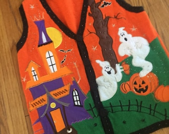 Vintage Halloween All Over Print CRAZY Ugly Teachers Knit Cut & Sew Sweater Vest Size S