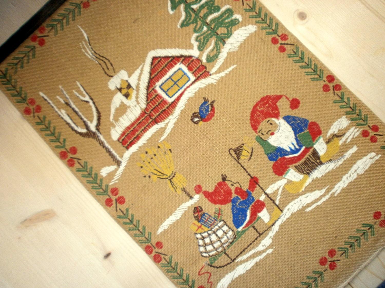 Vintage Christmas wall hanging Santa Claus wall art print Ornament ...