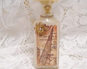 Shabby Chic Christmas Vintage Medicine Bottle Brush Tree 8 Inch