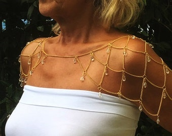 Gold Shoulder Chain with Transparent Beads,Shoulder Chain,Bridal Shoulder Necklace,Necklace, Mothers day gift,Schulter,Wedding Necklace