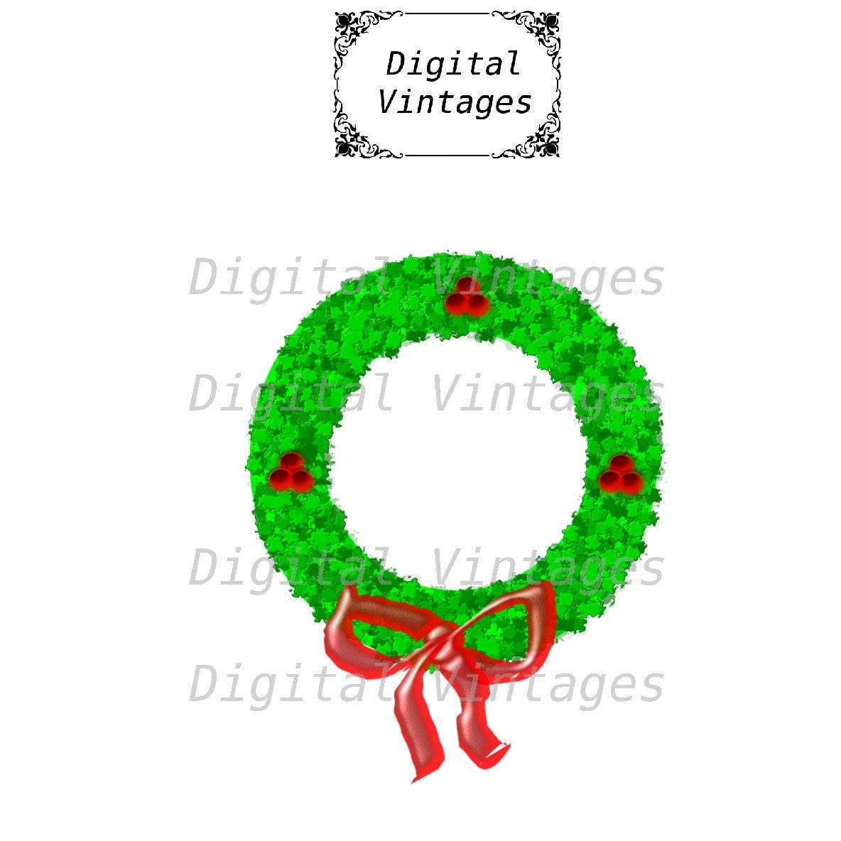 Wreath Wreathe Color Christmas Decoration Vintage Illustration