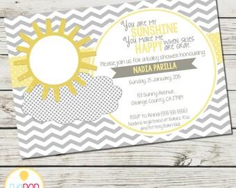 MY SUNSHINE Baby Shower Invitation You Are My Sunshine Gray Yellow Chevron Digital Printable