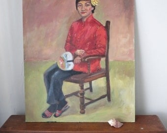 Mid Century Oil Painting Portrait Woman American Chinese 1970s