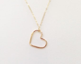 The Perfect Heart Necklace in Sterling Silver or Rose Yellow Gold Filled Valentines Day
