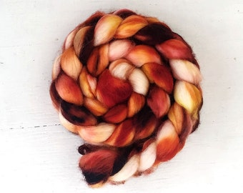 FIREBRAND B color, Blue-Faced Leicester, spinning fiber, roving, handpainted, hand dyed, top,