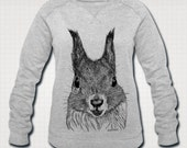 Red Squirrel Wildlife Ethically Produced Sweatshirt Sweater For Women. Organic Cotton. Sizes S-XXL. Heather Grey Or Heather Blue..