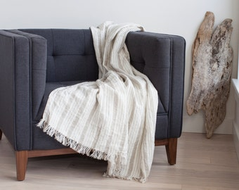 Linen throw blanket with fringe made in Maine, U.S.A.