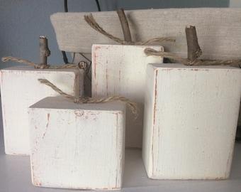 Pumpkin Blocks, Pumpkin Decor, Wood Pumpkins, White Pumpkins, White Fall Decor