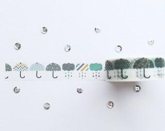 WashiTape, Umbrella, Washi, Large, 1,5cm breed, 10meter lang