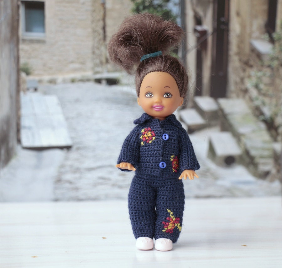 Crochet Mini Doll Clothes : Doll crochet clothes for 4doll. Crocheted blue set