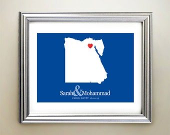 Egypt Custom Horizontal Heart Map Art - Personalized names, wedding gift, engagement, anniversary date