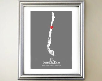 Chile Custom Vertical Heart Map Art - Personalized names, wedding gift, engagement, anniversary date