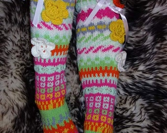 Handknitted long, over the knee socks - FREE SHIPPING WORLDWIDE!