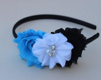 Blue and white headband, toddler blue headband, girls black blue and white headband, blue and black headband, hard headband