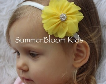 Easter headbands, Easter yellow headbands, satin headbands, yellow Easter girl headbands, yellow toddler headbands, kids hair accessories