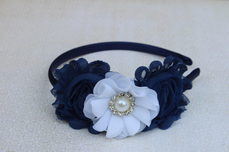 Navy Blue Headbands Satin Headband Navy Blue Flower Girl