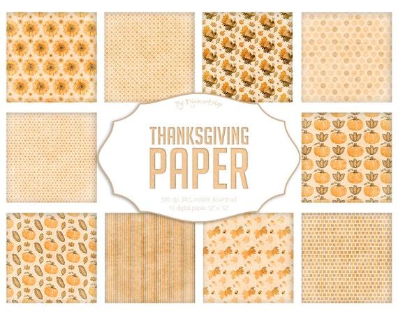 Thanksgiving Digital Paper Quot Thanksgiving Paper Quot Watercolor
