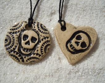 Skull Necklace Day of the Dead, 2 Skull Pendants