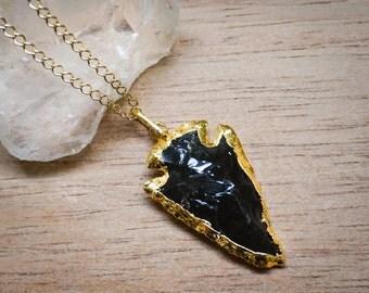 Black Obsidian Arrowhead Pendant CharmNecklace,Gold Arrowhead Pendant,Layered Necklace,Gemstone,Unisex Jewelry,Golden Chain,Chain Jewelry