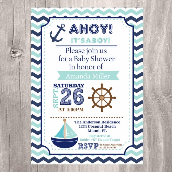 Comprehensive image intended for nautical baby shower invitations printable