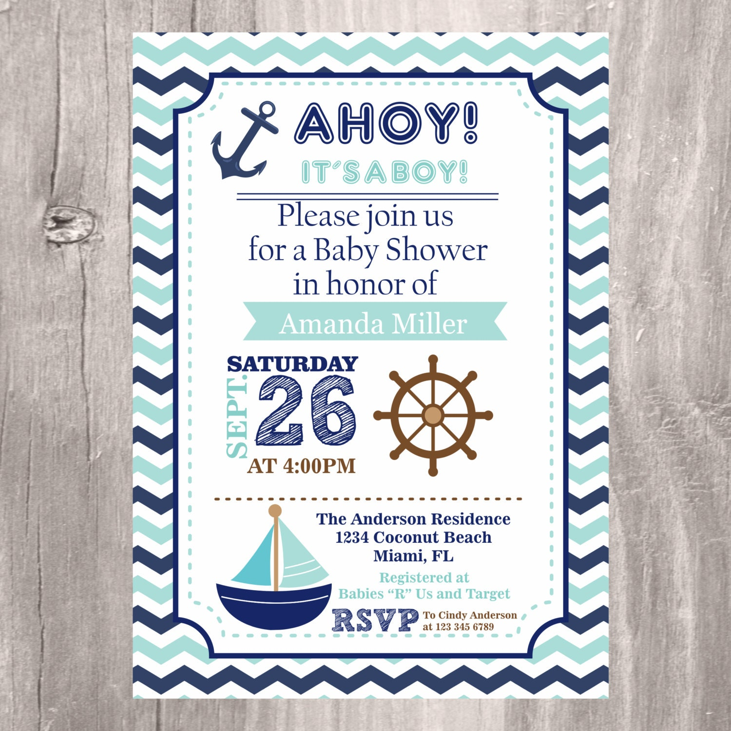 nautical baby shower invitations navy and teal printable