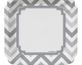 8 Count - Chevron Gray Dinner Plates - Baby Shower or Birthday Party Supplies