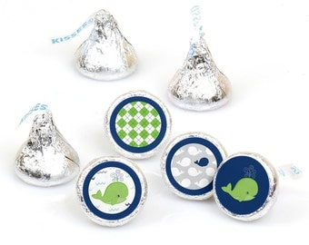 Hershey Kiss® Stickers - Whale - Round Candy Label Party Favors - Baby Shower or Birthday Party - Hershey Kisses Labels - 108 per Sheet