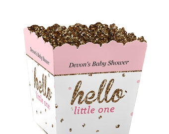 Hello Little One - Pink and Gold - Custom Small Candy Boxes - Personalized Girl Baby Shower Party Supplies - Set of 12