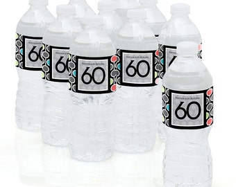 60th Birthday Party - Water Bottle Sticker Labels - Personalized Waterproof Self Stick Labels - 60th Happy Birthday Favors - 10 Ct.