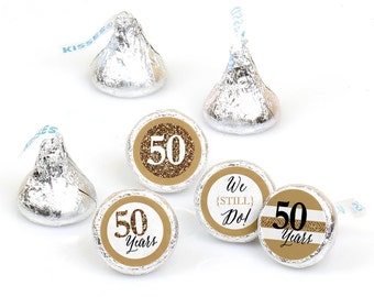 Hershey Kiss® Stickers - 50th Anniversary - Round Candy Label Party Favors - We Still Do - Hershey Kisses Labels - 108 per Sheet