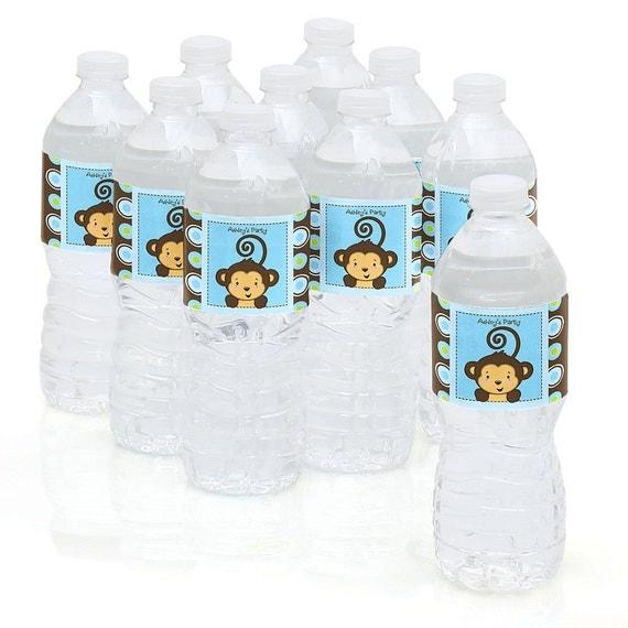 Monkey Baby Shower Party Favors: Water Bottle Sticker Labels