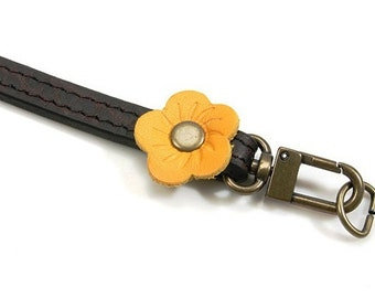 """19.9"""" Genuine Leather Embossed Bag Strap (BR+YELLOW)"""