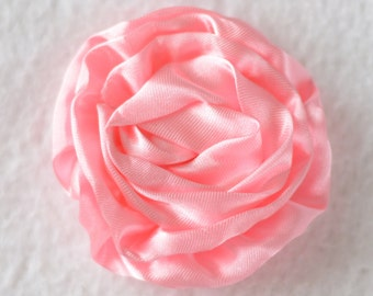 3 inch Rose Flower Head, Wholesale Satin Roses for Flower Head Bands, Lot of 1, 2, 5 or 10 - Pink