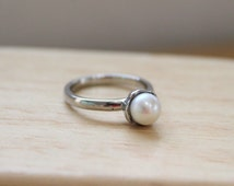 Fresh Water Pearl Mini Ring, Stackable Ring, Stainless Steel 316L, Wear it individual or stack with other ring designs!