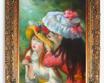 """Girls Putting Flowers On Their Hats By Pierre-Auguste Renoir Oil Painting Reproduction (36"""" X 48"""") Framed or Stretched ALONE"""