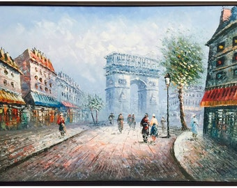 Paris Scenic Oil Painting of The Arc de Triomphe, Place de l'Étoile Framed, 24 X 36 or Stretched Only