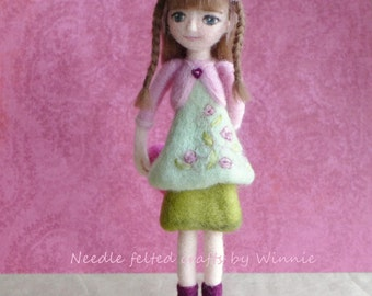 Needle felted doll with heart in green and pink dress handmade  OOAK