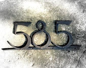 Hand forged house number. Metal number. Metal house decoration. House plate.