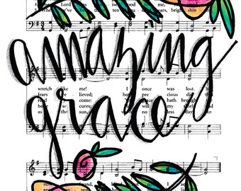 Amazing Grace 5x7 Print Hymn Fine Art Hymnal Watercolor Ink Painting Praise Sheet Music Hand Lettering Calligraphy War Room