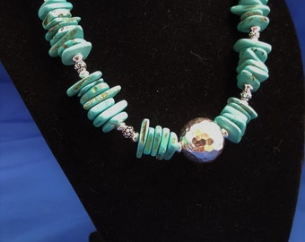 Turquoise chips and sterling silver necklace