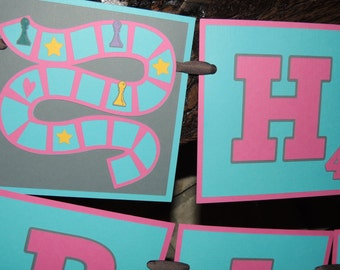 Game night birthday banner. Happy Birthday. Board game. Pawns. Dice. Scrabble inspired. Board game party. Ready to ship.